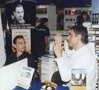 Federico Andahazi talking with the Chilean author Pablo Simonetti at the Santiago Book Fair, Chile (2005)